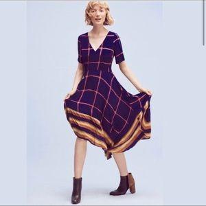 NWOT Sz 6 navy pink Maeve grid dress